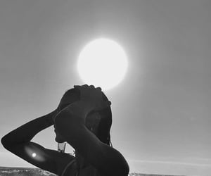black and white, girl, and beach image