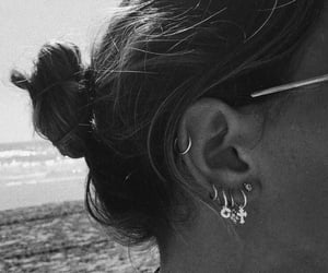 piercing, beach, and black and white image