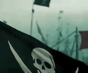 captain jack sparrow, flag, and the black pearl image