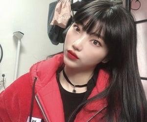 girly, korean girls, and red jacket image