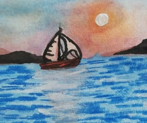 boat, sea, and sunset image