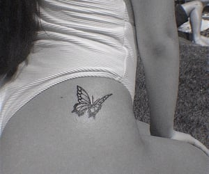 black and white, tattoo, and butterfly tattoo image