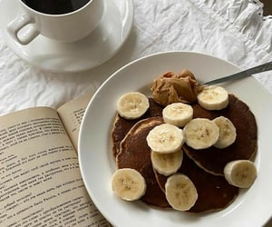 book, food, and pancakes image