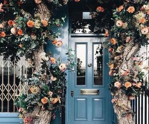 flowers, door, and blue image