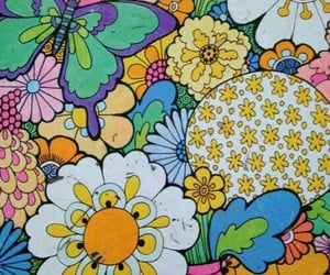 flowers, butterfly, and hippie image