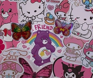 butterfly, carebears, and hearts image