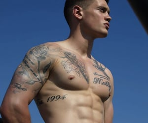tattoo, boy, and abs image
