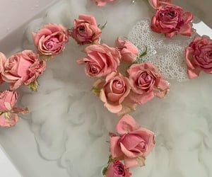 flowers, pink, and gold image