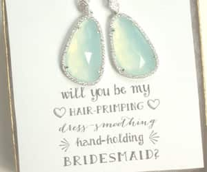 wedding, mint earrings, and bridesmaid gifts image