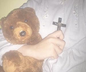 cross, teddy bear, and traumacore image