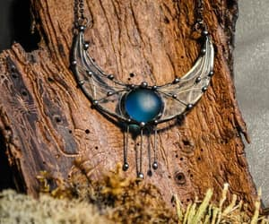 crescent moon, handmade jewelry, and stained glass image