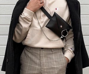 accessories, winter style, and check pants image