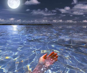 moon, water, and ocean image