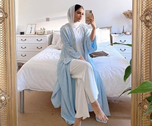 girl, hijab, and mirror image