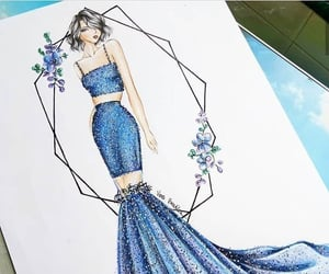 art, blue, and fashion image
