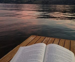 book, lake, and reading image