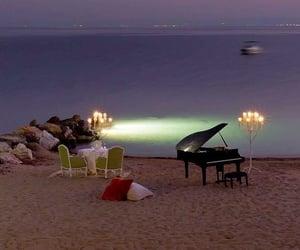 beach, romantic, and piano image