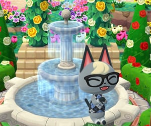 animal crossing, campsite, and fountain image