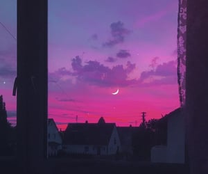aesthetic, moon, and pink image