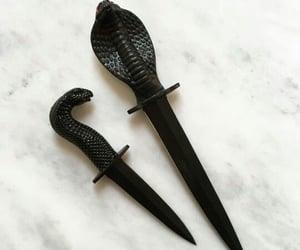 knife, black, and snake image