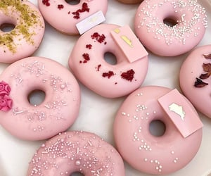 pink, food, and donuts image