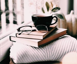 books, coffee, and glasses image