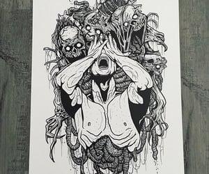 art, black and white, and insane image