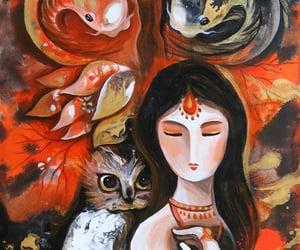 koi, owl, and goddess image