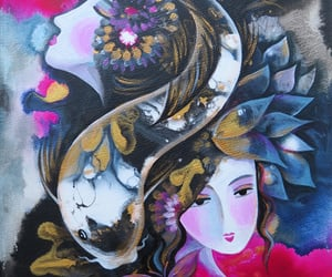 butterfly, goddess, and lotus image