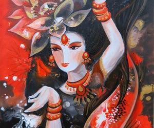 goddess, lotus, and koi image