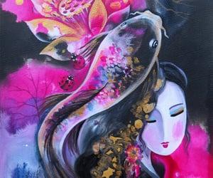 goddess, ladybug, and lotus image