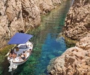 boat, emerald, and sea image