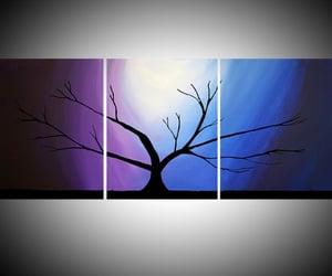 starry night, purple tree, and blue tree image