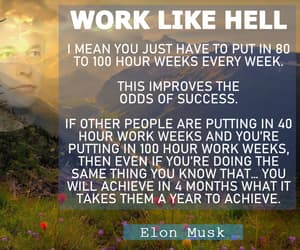 quote, work hard, and elon musk image