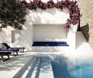 home, summer, and swimming pool image