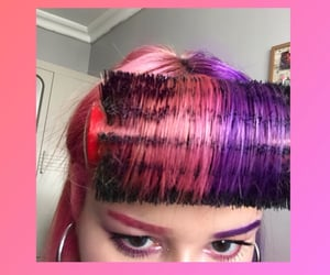 bangs, purple hair, and pink and purple hair image