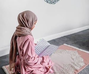 hijab, prayer, and quran image