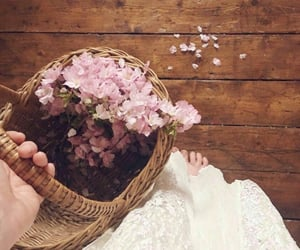 basket, flowers, and lace image