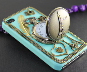 blue, case, and pocket watch image