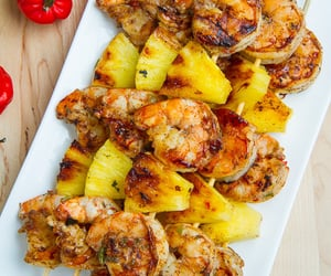 food, shrimp, and pineapple image