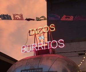 tacos, burrito, and neon image