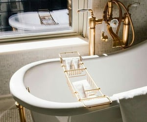 bath, bathroom, and gold image