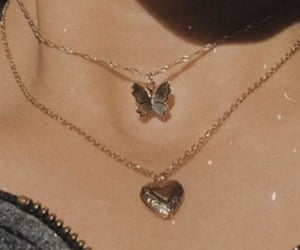 butterfly, necklace, and heart image