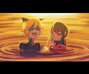 Chat Noir, ladybug, and splash image