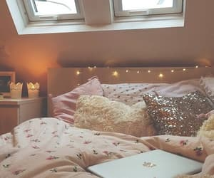 bed, girly, and lights image