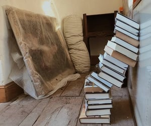 books, art, and house image
