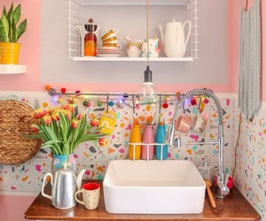 colorful, flower, and kitchen image