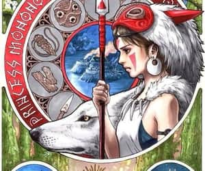 princess mononoke, studio ghibli, and wolf image