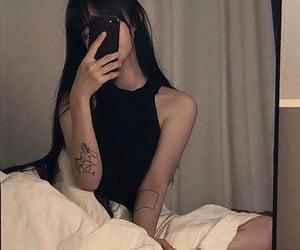 girl, black, and korean image