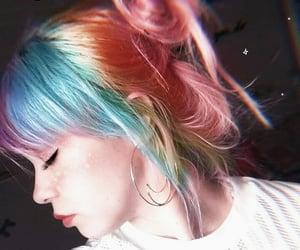 girl, rainbow, and hair image